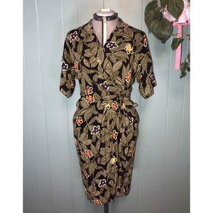 Vintage Tropical Wrap Dress, Jungle Leaf Print